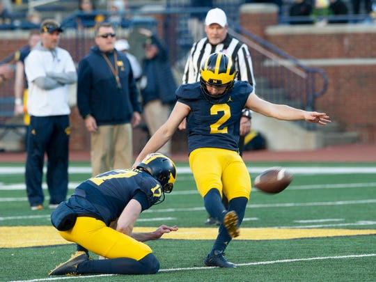 Sophomore Jake Moody is in a close battle with Quinn Nordin to be Michigan's primary kicker.