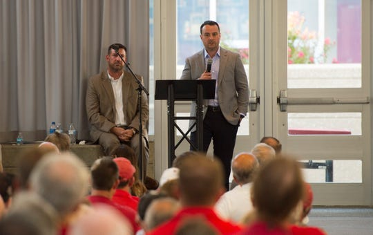 Indiana University Men's Basketball coach Archie Miller speaks to a packed room during the Shoulders Family Lecture Series at Harrison High School in Evansville, Ind., Tuesday evening, Aug. 27, 2019.