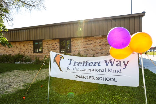 North Fond du Lac charter school Treffert Way for the Exceptional Mind displays sign and balloons at its open house in August 2019.