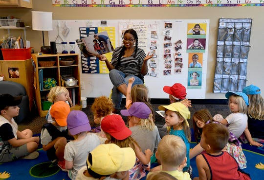 Enola Branchaud, an early childhood teacher, leads her class of 4- and 5-year-olds at Teaching Tree Early Childhood Learning Center in Fort Collins, Colo. on Tuesday, Aug. 27, 2019.