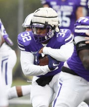 Running back Devin Abrams (32)  is one of two redshirt freshmen who have earned starting jobs on the Furman offense.