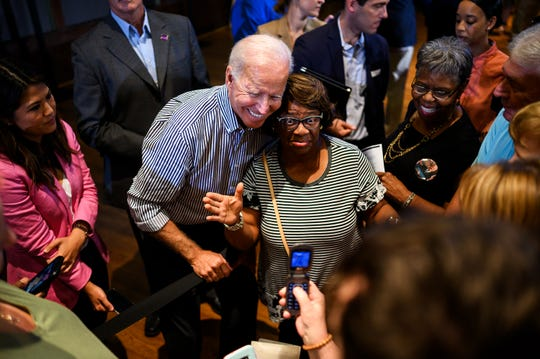 Democratic presidential candidate and former Vice President Joe Biden speaks to supporters after a town hall at the Cleveland Park Event Center in Spartanburg Wednesday, Aug. 28, 2019.