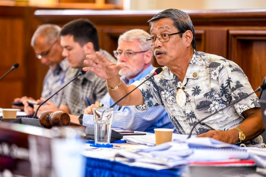 Sen. Joe S. San Agustin, legislative chairman for the Committee on General Government Operations, Appropriations, and Housing, addresses fellow lawmakers during session as they reconvened to discuss details of the 2020 budget bill at the Guam Congress Building in Hagåtña on Wednesday, Aug. 28, 2019.