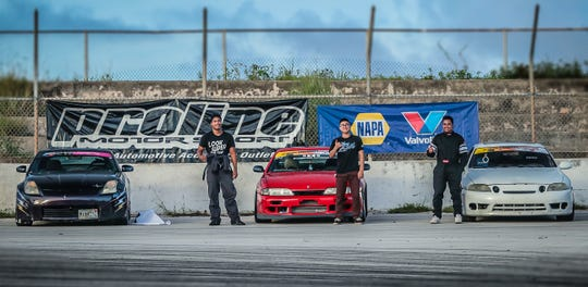The top finishers of Round 3 of the Proline Drift Championships are, from left: Von Burrell (second), Andy Passauer (first) and Jasper Leong (third).