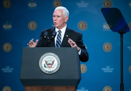 Vice President of the United States, Mike Pence, speaks during the 101st American Legion National Convention, held at the Indianapolis Convention Center, on Wednesday, Aug. 28, 2019.
