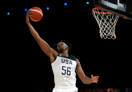 Myles Turner, representing the U.S. team, drove to the basket during an exhibition basketball game against Australia in Melbourne on Aug. 22.
