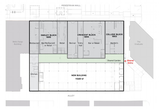 A diagram of the proposed new building south behind the pedestrian mall.