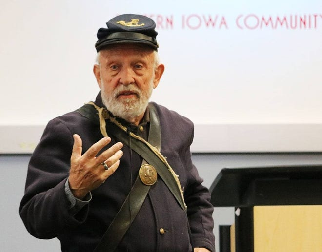 O.J. Fargo stays in character as he portrays an Iowa Civil War soldier, speaking throughout the state for Humanities Iowa. His next free presentation is at 12:30 p.m. this Friday at the North Liberty Community Center.