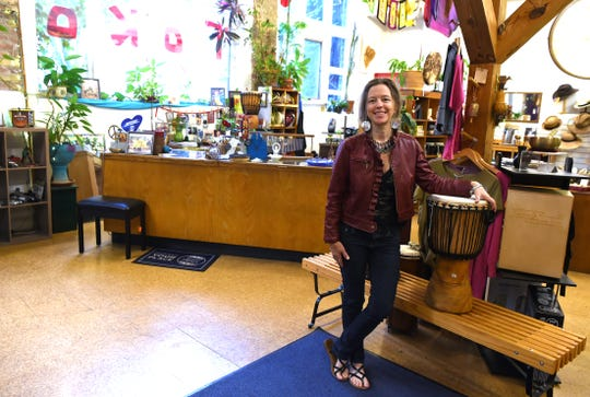 Polly Wood, the current owner of Toko Imports in the DeWitt Mall in downtown Ithaca. Wood hoping to find a new owner of the DeWitt Mall shop through an online contest.
