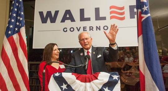 With wife Charlott Waller by his side, Bill Waller Jr. addresses and thanks supporters after Tate Reeves was named winner of the GOP nomination for governor in the Tuesday, Aug. 27, 2019 runoff.