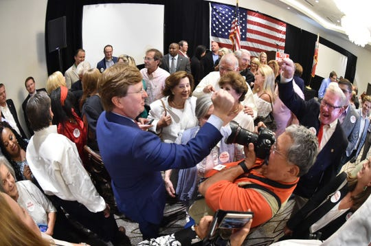 Lt. Governor Tate Reeves celebrates with his supporters and family on Tuesday, Aug. 27, 2019 at the Westin hotel in downtown Jackson following his victory against Bill Waller, Jr. in a runoff for the republican gubernatorial race.