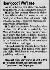 An excerpt from a Rick Cleveland column in the Clarion Ledger in 1999.