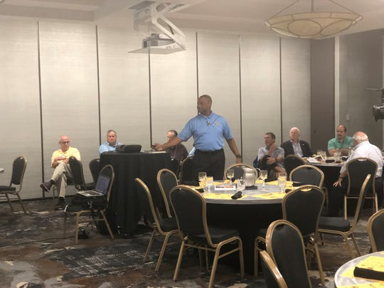 Jackson-Madison County School System Superintendent Ray Washington makes a presentation to the Jackson-Old Hickory Rotary Club on Aug. 26 about the district's operations, academics and progress.
