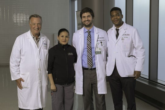 Keith Millikan, MD, left, heads a team where he is a general surgeon at Chicago's Rush University Medical Center. It includes certified medical assistant Emilia Munoz-Ortez, second from left, junior resident Joshua Underhill, MD, and third-year medical student John Ogunkeye.