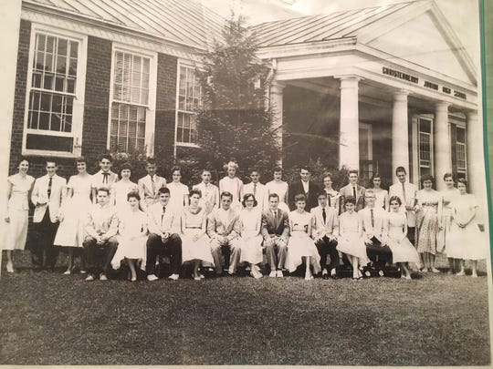 Part of Fulton High School's Class of 1959, when they were ninth graders at Christenberry Junior High School. Sheila Sharp is near the middle of the back row, to the viewer's left of the young man in the dark jacket.