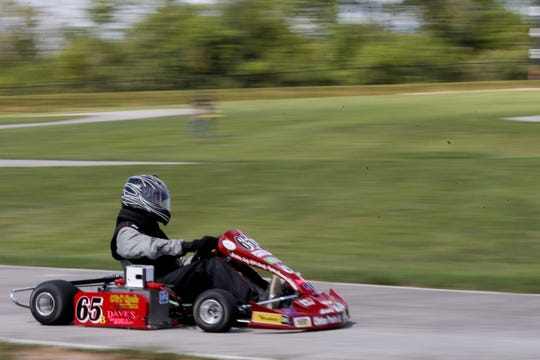 Clinton Prairie driver Brady Myers completes a lap during a heat of the evGrand Prix, Wednesday, Aug. 28, 2019 at the Purdue Grand Prix Track in West Lafayette.