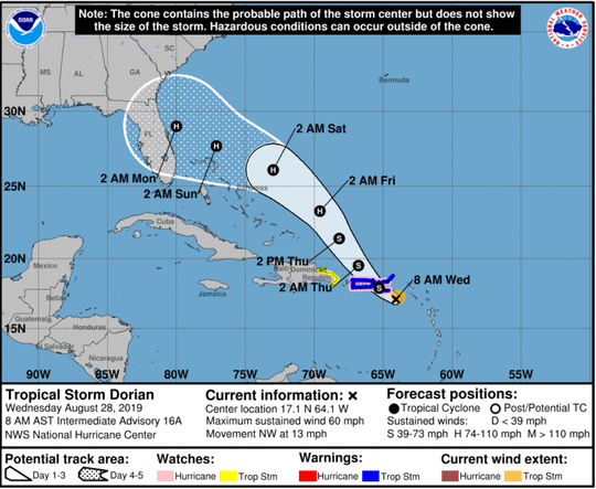 The National Hurricane Center forecasts Tropical Storm Dorian to become a hurricane before making landfall in Florida.