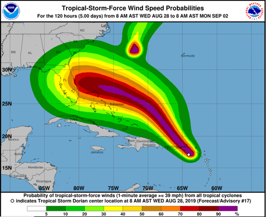 Dorian's expected impact on U.S. intensified Wednesday as hurricane continued to strengthen.