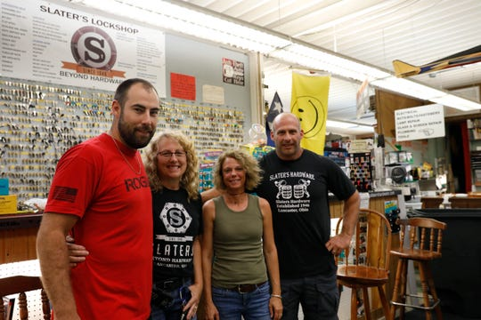 (from left to right) Nathan Weisenstein, Lou Ann Weisenstein, Jackie Slater and Steve Slater are some of the owners and operators of Slaters Hardware.