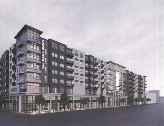 The 422 eMain project consists of an eight-story apartment complex with 343 units and 11,000 square feet of ground-level commercial space.