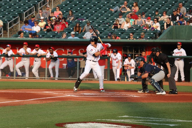 Lansing Lugnuts outfielder Griffin Conine was recently named to the Midwest League postseason all-star squad. He has hit a league-leading 20 home runs this season.