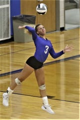 Ontario's Carleigh Pearson led the Lady Warriors to three victories last week on the volleyball court.