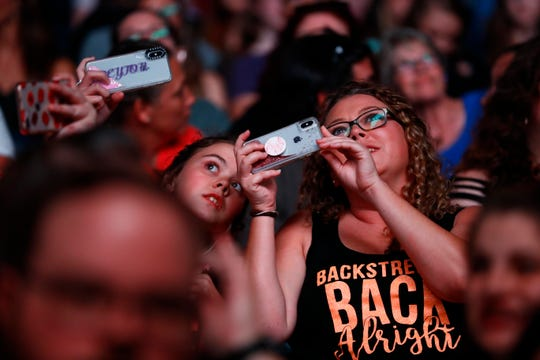 Backstreet Boys fans listen to Baylee Littrell perform as the opening act during the DNA World Tour show at the FedExForum on Tuesday, Aug. 27, 2019.