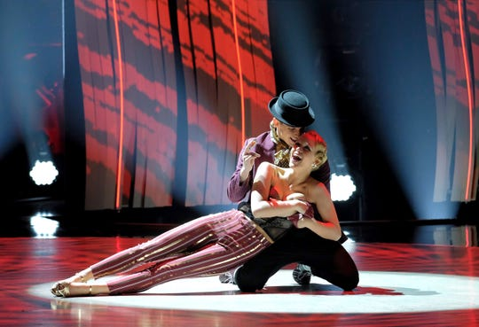 "Sophie Pittman (right) and dance partner Gino Consculluela (left) perform a jazz routine to ""Trouble"" by Elvis Presley on FOX's 'So You Think You Can Dance.'"