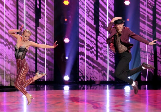 "Sophie Pittman (left) and dance partner Gino Consculluela (right) perform a jazz routine to ""Trouble"" by Elvis Presley on FOX's 'So You Think You Can Dance.'"