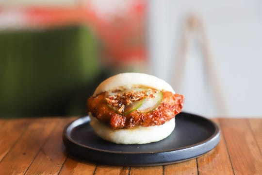 The fried chicken bao at Lucky Cat Ramen on Broad Avenue