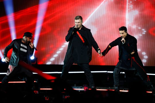 The Backstreet Boys perform during the DNA World Tour show at the FedExForum on Tuesday, Aug. 27, 2019.