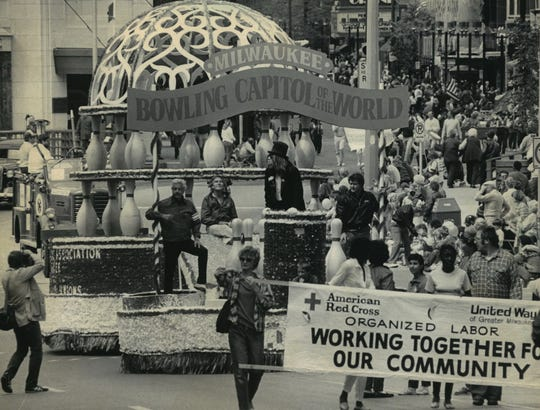 1984: The Milwaukee Bowling Association's float rolls down Wisconsin Avenue during the Labor Day parade. This photo was published in the Sept. 4, 1984, Milwaukee Journal.