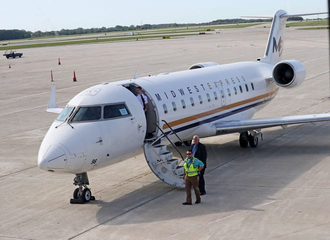 Midwest Express unveiled this color scheme, known in the airline industry as a livery, in August 2019 when it announced a partnership with Elite Airways. Midwest said Monday it has ended the partnership with Elite and is suing the company for breach of contract.