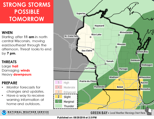 The risk for severe weather is highest in southern Wisconsin, according to the National Weather Service.