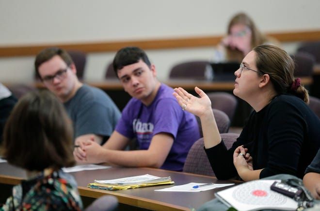 Echo Watters, right, participates in the Stronger & Safer Together bystander intervention workshop at the University of Wisconsin-Oshkosh campus in late August.