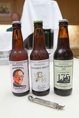 Members of Barley Ministries Brewing, part of the First Congregational United Church of Christ in Elkhorn, make their own labels for the bottles of beer they produce. The beer Thou Shalt Not Be a Weizen Heimer includes the image of their pastor Scott McLeod.