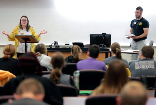 Residence Hall Directors Alexis Kelsch, left, and Christopher Wagner lead the Stronger & Safer Together bystander intervention workshop at the University of Wisconsin-Oshkosh campus in late August.