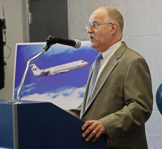 Midwest Express President Greg Aretakis speaks at an event at Milwaukee Mitchell International Airport in August to announce the first cities the airline plans to serve.