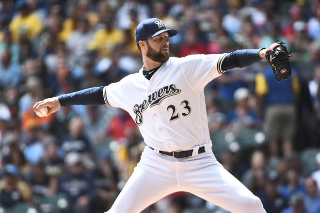 Jordan Lyles pushed his record with the Brewers this season to 4-1 with another strong performance Wednesday against the Cardinals.