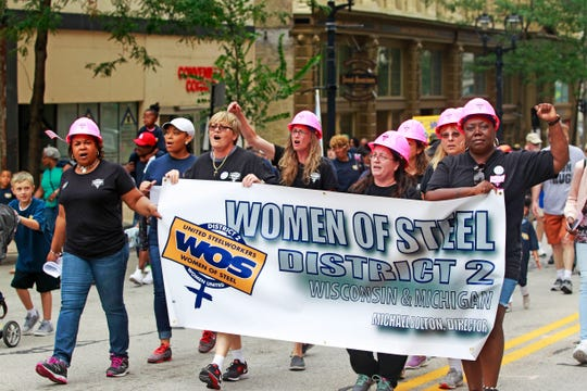2017: The United Steelworkers Women of Steel, District 2, march in Milwaukee's  Labor Day parade on Sept. 4, 2017.