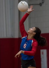 Macon East's Emily Brooks (5) serves the ball as Macon East takes on Fort Dale at Macon East Academy in Montgomery, Ala., on Tuesday, Aug. 27, 2019.