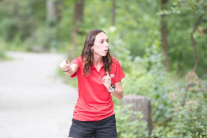 Rachel McFarlane, an assistant cross country coach for distance at Ball State, instructs the Cardinals. McFarlane is in her second year with the team.