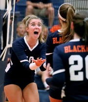 Blackman's Ashllyn King (10) celebrates a point against Siegel at Blackman on Tuesday Aug. 27, 2019.