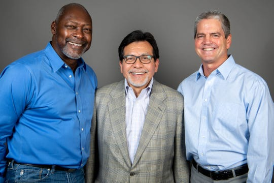From Left: Dave Stewart, Alberto Gonzales and John Loar of Music City Baseball pose for a photo Wednesday, Aug. 28, 2019, in Nashville, Tenn.
