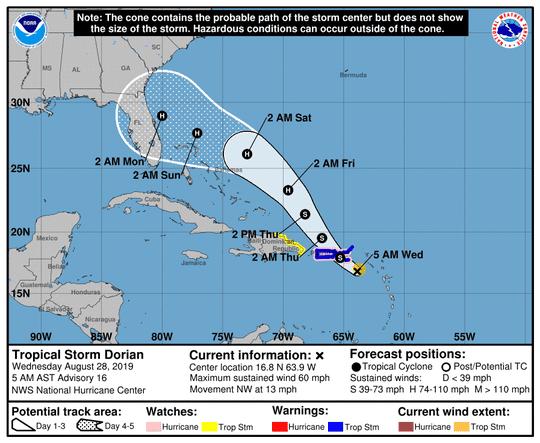 Tropical Storm Dorian forecast track as of 5 a.m.