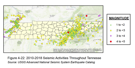 A visualization of earthquakes Tennessee has had since 2010.
