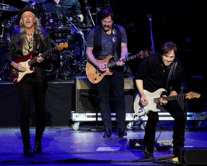 The Doobie Brothers will perform April 17 at Aiken Theatre.  Robert E. Klein/Associated Press American iconic rock band The Doobie Brothers with original members guitarist Patrick Simmons, left, lead guitarist and founding member Tom Johnston, center, and guitarist John McFee perform at the Xfinity Center, Saturday, July 7, 2018, in Mansfield, Mass. (Photo by Robert E. Klein/Invision/AP) ORG XMIT: MARK105