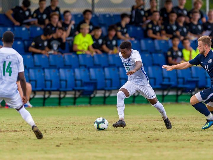 FGCU's Shak Adams dribbles the ball during a preseason exhibition game against Nova Southeastern last week.