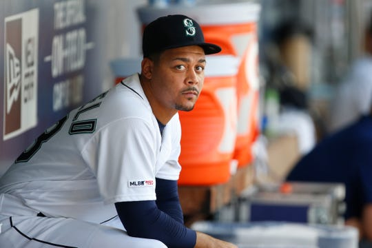 Aug 28, 2019; Seattle, WA, USA; Seattle Mariners relief pitcher Justus Sheffield (33) sits in the dugout during the fourth inning against the New York Yankees at T-Mobile Park. Mandatory Credit: Joe Nicholson-USA TODAY Sports