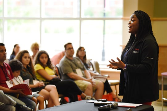 Ashlea Coulter, Associate Director, New Student and Family Programs, addresses parents and families of new students during the Rutgers Parent Orientation at Livingston Student Center in Piscataway on 08/28/19.